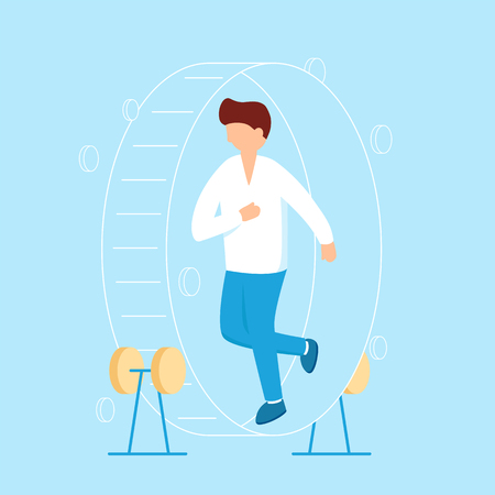 Businessman in hamster wheel chasing money and coins vector flat illustration. Person is running in wheel to earn money concept for banner and infographic design