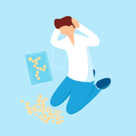 Person thinks about money and collects coins vector flat illustration for infographic design. Confused man looking at the applique from needless funds cartoon character