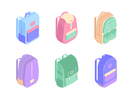 Set of colorful backpacks isometric icons in 3D design vector illustration isolated on white background. Back to school concept stock vector