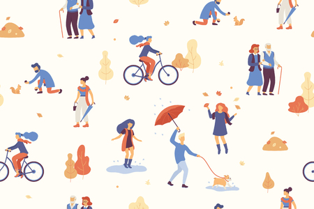 People in the autumn park having fun, walking the dog, riding bicycle, jumping on puddle, playing with autumn leaves, with umbrella and bulldog. Casual people in fall forest seamless vector pattern