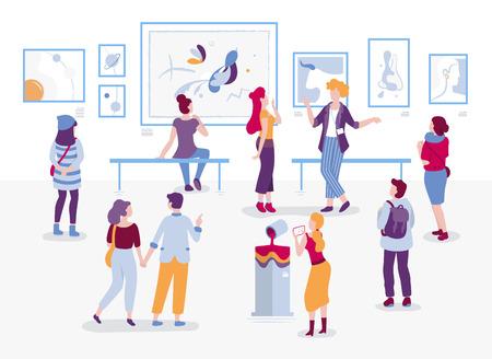 Galerie d'art avec des visiteurs regardant des peintures vector illustration plate. Les gens à l'exposition des personnages de dessins animés dans un style d'art moderne. Hommes et femmes touristes et guide au musée des arts.