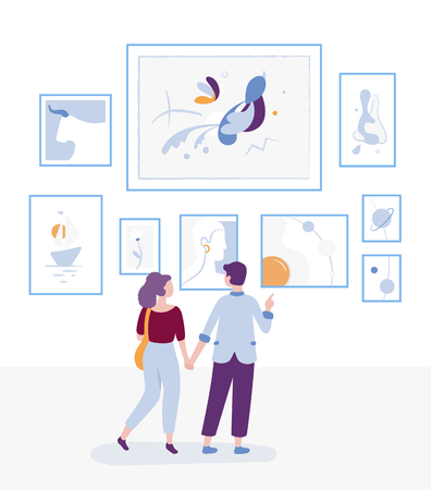 Young couple visiting art gallery and looking at paintings on a wall, museum art exhibition and man and woman - visitors are contemplating arts vector flat illustration with cartoon characters Vector Illustration