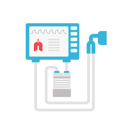 Ilustración plana de vector de ventilador médico aislado sobre fondo blanco. Icono de respirador mecánico para infografía médica. Ilustración de concepto de ventilación mecánica de pulmones
