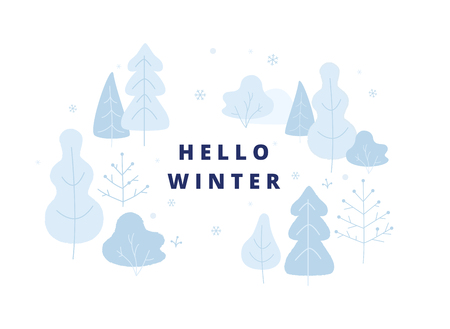 Hello winter concept illustration, winter park elements, trees, bushes in snowy weather. Banner, poster in flat design.