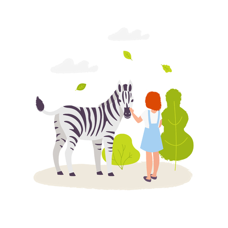 Cute girl contacting with the zebra. Colorful vector illustration in flat cartoon style. Zoo park elements isolated on white background. Infographic elements. Vektoros illusztráció