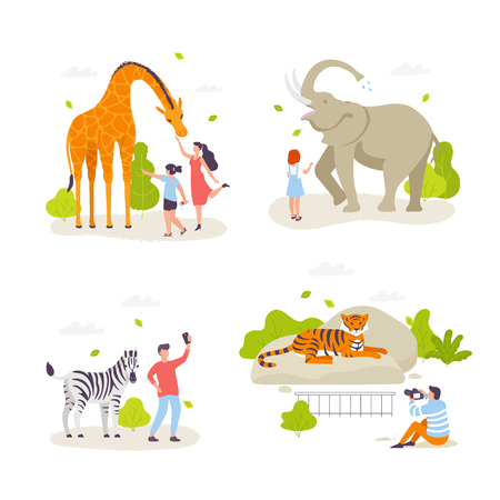 People in the zoo looking at animals and acting with them. Cute wild animals, cheerful people, children cartoon characters flat design. Giraffe, elephant, zebra, tiger isolated. Infographic elements.