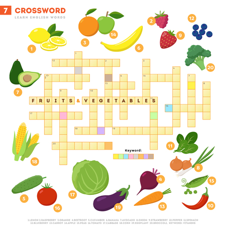 Crossword with huge set of illustrations and keyword in vector flat design isolated on white background. Crossword 7 - Fruits and vegetables - learning English words with images isolaed on white