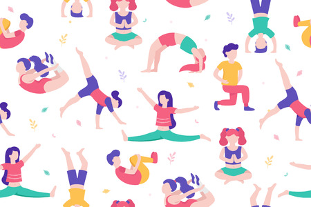 Children doing activities and sports in flat design vector illustration. Kids in the park seamless pattern isolated on white background doing physical exercises, yoga, stretching, gymnastics, sports