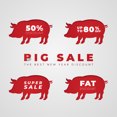 Cut out red pig in paper design isolated on white paper background. Chinese New Year 2019 Pig symbol, set of discounts, Pig Sale concept. Stickers, labels, banners, design elements, profitable offers