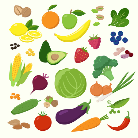 Large set of fruits, vegetables and berries in flat design isolated on white background. Vegetarian food Infographic elements