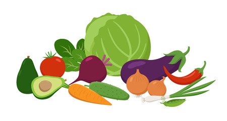 Set of juicy vegetables grouped together in flat design. Vitamins food vector concept illustration isolated on white