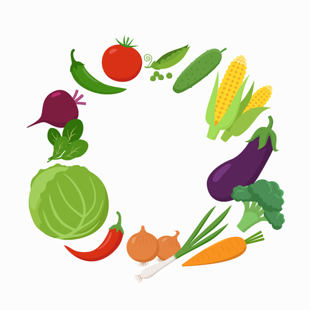 Fresh Vegetables around the text place in flat design isolated on white background. Vegetarian food concept vector illustration. Round frame of various vegetables Illustration