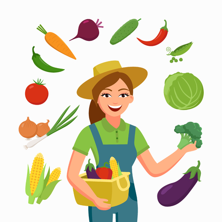 Girl farmer and various vegetables in flat cartoon style isolated on white background. Farming and agriculture business concept vector illustration for banners, infographic and other design