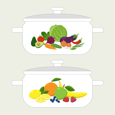 Pan design template, casserole with vegetables and fruits sets on it in flat design. Vector illustration isolated on white background