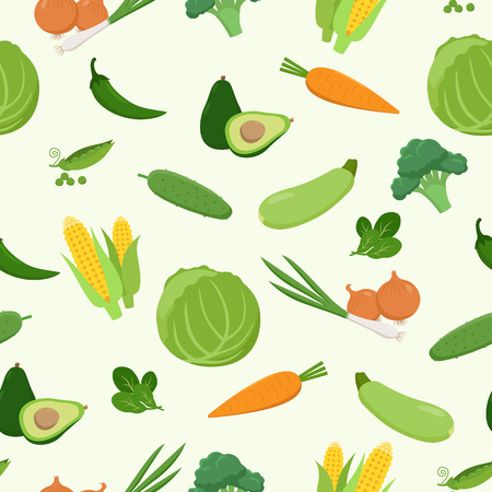 Fresh green various vegetables seamless pattern in flat design. Set of vector vegetables. Cabbage, carrot, corn, avocado, pepper, cucumber, zucchini, peas, broccoli spinach isolated Vegetarian food Illustration