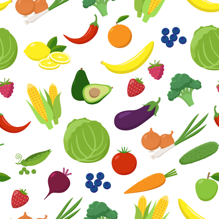 Various fruits and vegetables seamless pattern isolated on white background. Vegetarian fresh food in flat design vector illustration.