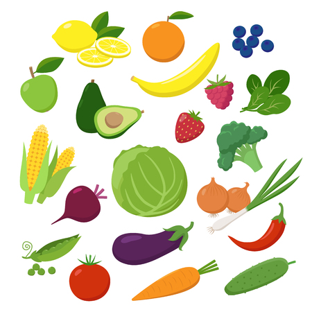 Large set of fruits, vegetables and berries in flat design isolated on white background. Vegetarian food Infographic elements.
