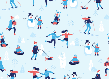 Winter sports outdoors seamless pattern. People having fun and winter activities in the park, skiing, skating, snowboarding, walking the dog, making a cute snowman, cartoon characters in flat design Illustration