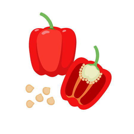 Sweet pepper vector flat illustration. Whole and halved red bell pepper and seeds isolated on white background. Packaging design element.