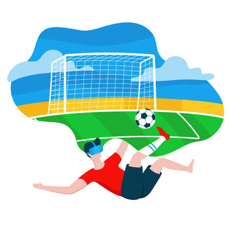Man Wearing Modern 3d Glasses, Virtual Reality Concept, boy playing VR game - football. Vector Colorful illustration in cartoon style in flat design isolated on white. Football pitch on background