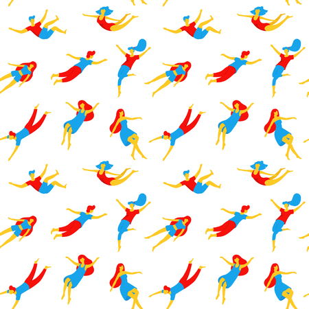 Collection of people flying, dreaming seamless pattern. Various men and women in creative poses in flat design isolated on white background. Colorful concept vector illustration in cartoon style