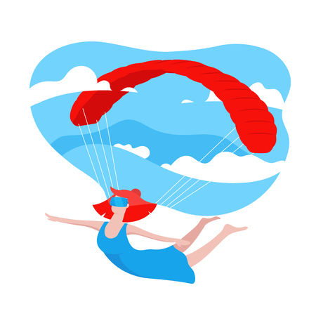 Woman Wearing Modern 3d Glasses, playing VR game. Virtual Reality Concept. Girl flying with a parachute and blue sky with clouds on background. Colorful illustration in cartoon style in flat design
