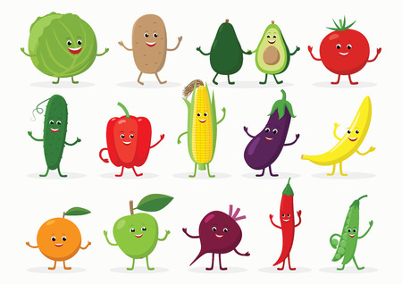 Large set of funny fruits and vegetables cartoon characters smiling with hands and legs isolated on white background. Cheerful food mascots in flat design Ilustracja