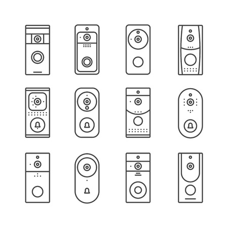 Smart home devices, Internet of Things set. Remote doorbell rings, appliances for house or office. Thin line art icons. Linear style illustrations. Vector flat design. Wireless doorbells