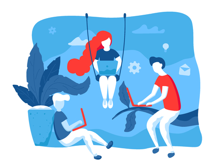 Creative people working together in coworking space. Vector illustration in flat design. Creative working process, web graphic for landing page. Young people with laptops outdoor in park