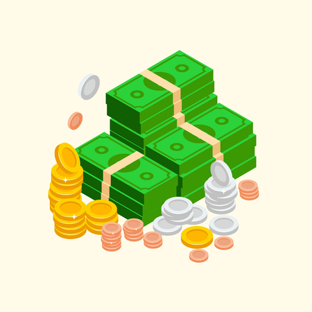 Pile of money isometric icon, vector illustration with golden and silver coins and cash, paper dollars bundles. Wealth condition illustrated elements