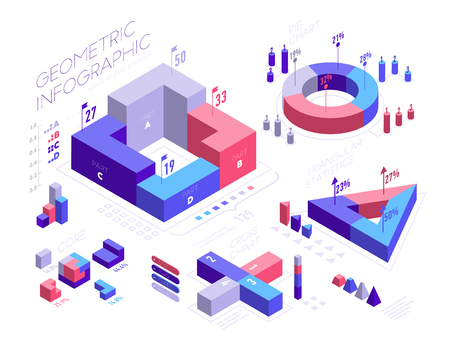 Isometric infographic elements with geometric shapes, icons, graphs, pie diagram, percentage. Set of Isometric 3D bar charts, statistics, report vector flat illustration isolated on white background