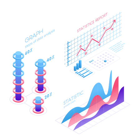 Isometric infographic elements with charts, statistics, data visualization, analysis, report, bar diagrams, graphs in flat 3D design isolated on white background. 일러스트