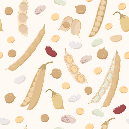 Legumes seamless pattern in flat design. Beans, chickpeas, peas, soybeans and pods isolated on light background, bean plant fruits texture