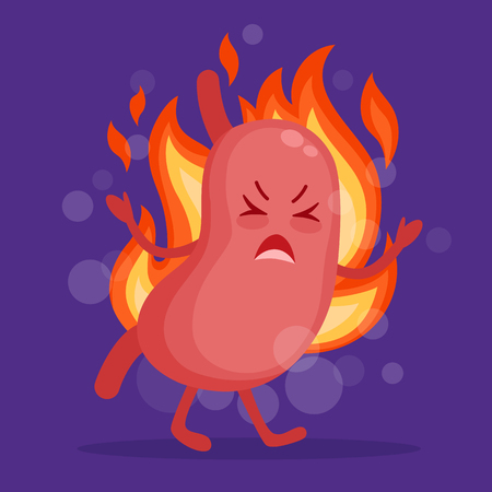 Stomach heartburn cartoon character in flat design. Epigastric burning concept vector illustration.