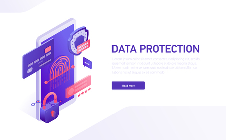 Data protection 3d isometric template of e-commerce site, home page vector design. Data safety isometric icons, shield, password, lock, credit card, fingerprint, phone isometric icons.