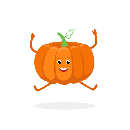 Pumpkin cartoon character isolated on white background. Healthy food funny mascot vector illustration in flat design