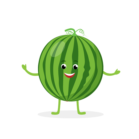 Watermelon cartoon character isolated on white background. Healthy food funny mascot vector illustration in flat design
