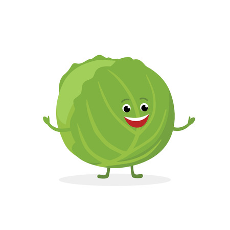 Cabbage cartoon character isolated on white background. Healthy food funny mascot vector illustration in flat design Illusztráció