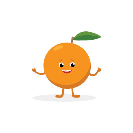 Orange cartoon character isolated on white background. Healthy food funny mascot of orange fruit vector illustration in flat design