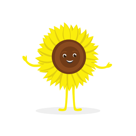 Sunflower cartoon character isolated on white background. Healthy food funny mascot vector illustration in flat design.  イラスト・ベクター素材