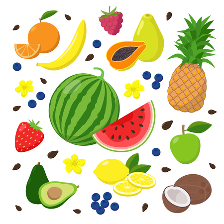 Summer fruits and berries set of vector illustrations isolated on white background in flat design. Summertime concept illustration. Illustration