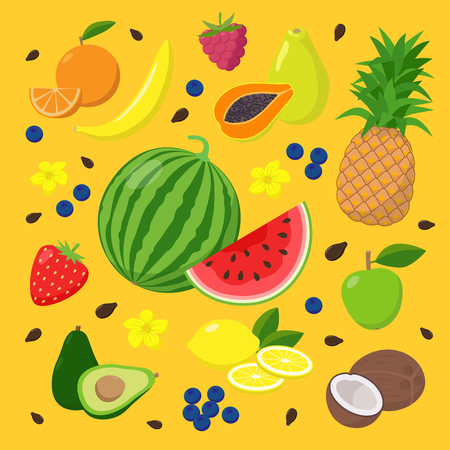 Summer fruits and berries set of vector illustrations isolated on yellow background in flat design. Summertime concept illustration with watermelon, avocado, papaya, coconut, banana, pineapple, lemon.
