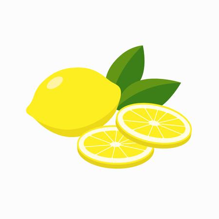Whole lemon and slices of lemon, gleen leaves vector illustration in flat design isolated on white background. Иллюстрация