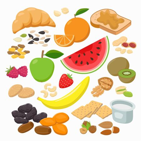 Collection of healthy snacks isolated on white background. Healthy foods Vector illustration in flat design.
