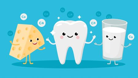 Happy Healthy Tooth and High calcium Products Cartoon characters friends together. Vector illustration in flat design. Cute Cheese and Milk infant characters