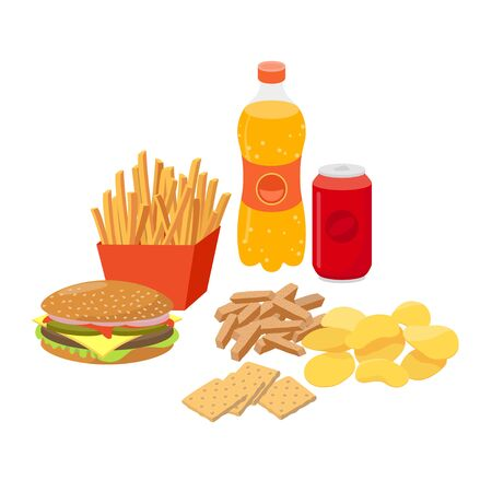 Fast food, junk food set in flat design, vector illustrations isolated on white background.