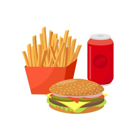 Fast food vector flat illustration. Group of Hamburger, french fries, and soft drink - popular junk food isolated on white background.