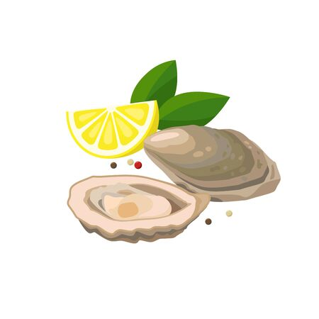 Oyster with lemon vector illustration in flat design isolated on white background.