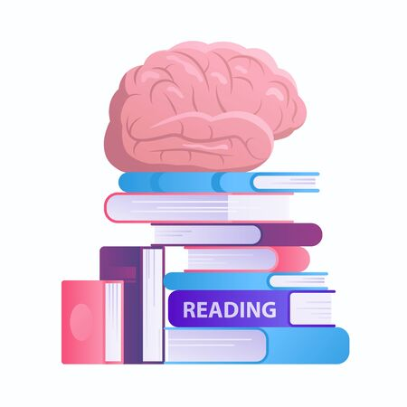 Reading and improving knowledge concept flat illustration isolated on white background. Brain and books vector illustration.