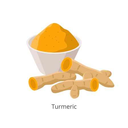 Turmeric rhizome and powder in flat design vector illustration isolated on white background.